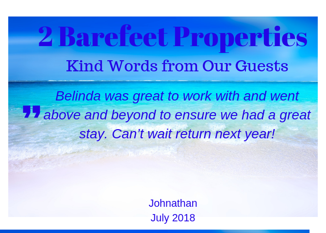 2 Barefeet Properties Guest Reviews